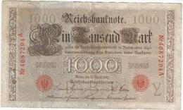 Alemania - Germany 1.000 Mark 21-4-1910 Pk 44 B Sellos Y Serie En Rojo, Serie De 7 Dígitos Ref 36-10 - 1.000 Mark