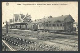 +++ CPA - CINEY - Intérieur De La Gare - Le Réseau Bruxelles - Luxembourg - Train - Trein   // - Ciney