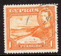 CYPRUS - 1938-1951 1938 ONE PIASTRE KGVI FINE USED SG 154 REF B2 - Cyprus (...-1960)