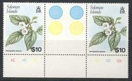 "1988 Solomon Islands MNH OG Very Scarce Gutter Pair Of The 10 Dollar High Value ""Native Flowers"" Stamp, Michel 675 - Solomon Islands (1978-...)"