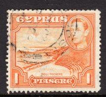CYPRUS - 1938-1951 1938 ONE PIASTRE KGVI FINE USED SG 154 REF B7 - Cyprus (...-1960)