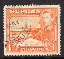 CYPRUS - 1938-1951 1938 ONE PIASTRE KGVI FINE USED SG 154 REF B8 - Cyprus (...-1960)
