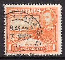 CYPRUS - 1938-1951 1938 ONE PIASTRE KGVI FINE USED LARNACA SG 154 REF B9 - Cyprus (...-1960)