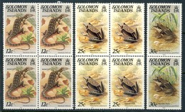 "1979-85 Solomon Islands MNH OG ""Reptiles & Lizards"" 10 Stamps In Blocks Of 4 And 1 Pair # 80, 82,83 - Salomon (Iles 1978-...)"