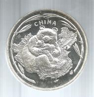 Cina, 1997, 1 Oz. Panda E Muraglia Cinese, Fondo Specchio. - Cina