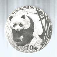 Cina, 2001, 10 Y. Panda Fondo Specchio, Cifre Della Data Piccole. - Cina