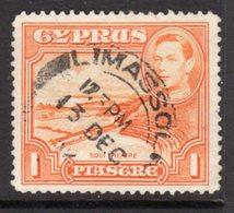 CYPRUS - 1938-1951 1938 ONE PIASTRE KGVI FINE USED LIMASSOL SG 154 REF B10 - Cyprus (...-1960)