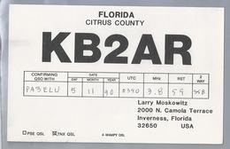 US.- QSL KAART. CARD. KB2AR. LARRY MOSKOWITZ, INVERNESS, FLORIDA. CITRUS COUNTY. U.S.A. - Radio-amateur