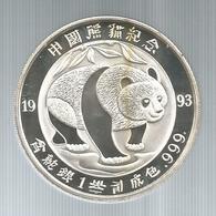 Cina, 1993, 1 Oz. Panda Argento Fondo Specchio. - Cina