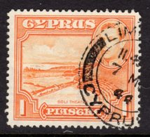 CYPRUS - 1938-1951 1938 ONE PIASTRE KGVI FINE USED SG 154 REF B12 - Cyprus (...-1960)