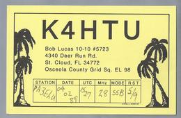 US.- QSL KAART. CARD. K4HTU. BOB LUCAS, St. CLOUD, FLORIDA. OSCEOLA COUNTY. U.S.A. - Radio-amateur