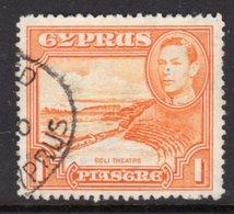 CYPRUS - 1938-1951 1938 ONE PIASTRE KGVI FINE USED SG 154 REF B13 - Cyprus (...-1960)