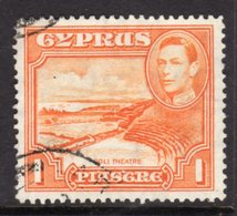 CYPRUS - 1938-1951 1938 ONE PIASTRE KGVI FINE USED SG 154 REF B15 - Cyprus (...-1960)