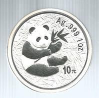 Cina, 2000, 10 Y. Panda Argento Fondo Specchio. - Cina