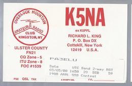 US.- QSL KAART. CARD. K5NA. RICHARD L. KING, COTTEKILL NEW YORK. ULSTER COUNTY. U.S.A. CLUB KINGSTON OVERLOOK MOUNTAIN - Radio-amateur
