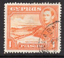 CYPRUS - 1938-1951 1938 ONE PIASTRE KGVI FINE USED LARNACA SG 154 REF B19 - Cyprus (...-1960)
