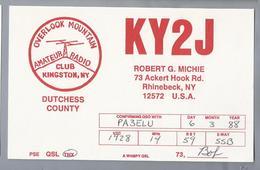 US.- QSL KAART. CARD. KY2J. ROBERT G. MICHIE, RHINEBECK NEW YORK DUTCHESS COUNTY. U.S.A. CLUB KINGSTON OVERLOOK MOUNTAIN - Radio-amateur