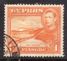 CYPRUS - 1938-1951 1938 ONE PIASTRE KGVI FINE USED SG 154 REF B21 - Cyprus (...-1960)