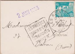 ENVELOPPE TIMBRE 1952 CACHET DAGUIN LES ROUSSES (JURA) - Marcophilie (Lettres)
