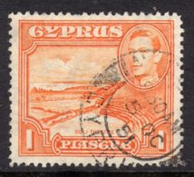 CYPRUS - 1938-1951 1938 ONE PIASTRE KGVI FINE USED SG 154 REF B22 - Cyprus (...-1960)