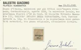 Levante Ottomano, Piastre 4,50 Su 50 Cent. VEIII, Decalco Della Soprastampa, Catalogo Varietà 52g. - 11. Foreign Offices