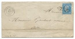 N° 22 BLEU NAPOLEON SUR LETTRE / PAMPELONNE POUR ALBI 1865 - Marcophilie (Lettres)