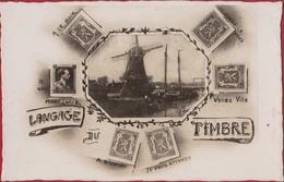 Carte Fantaisie Fantasy Fantasiekaart Langage Timbre Moulin A Vent Windmill Windmolen Postzegeltaal - Timbres (représentations)