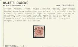 Lombardo Veneto, 1850, Stemma 15 Cent. 2° Tipo Annullato Abbiategrasso (Pavia). VARIETA'. - Lombardo-Veneto