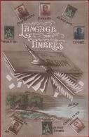 Carte Fantaisie Fantasy Fantasiekaart Langage Des Timbre Vulpen Fountain Pen Stylo A Plume Postzegeltaal 1914 - Timbres (représentations)