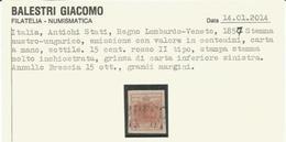 Lombardo Veneto, 1857, Stemma 15 Cent. Annullato Brescia 15 Ott. Grinza Di Carta A Mano Sottile. - Lombardo-Veneto