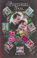 Carte Fantaisie Fantasy Fantasiekaart Langage Des Timbre Couple Romance Romantiek Love Amoureuse Postzegeltaal - Timbres (représentations)