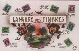 Carte Fantaisie Fantasy Fantasiekaart Langage Des Timbre Fleurs Flowers Timbres  Postzegeltaal - Timbres (représentations)