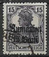 GERMANIA REICH OCCUPAZIONI DELLA ROMANIA 1918 FRANCOBOLLI DEL 1905-16 SOPRASTAMPATI UNIF.28 USATO VF - Occupazione 1914 – 18