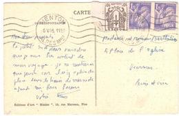 MENTON Alpes Maritimes Carte Postale 1,20 F Iris 10c Chaines Brisées Ob 6 5 1946 Yv 670 651 - Covers & Documents
