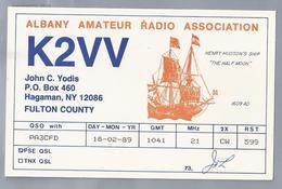 US.- QSL KAART. CARD. K2VV. JOHN C. YODIS, HAGAMAN, NEW YORK. FULTON COUNTY. U.S.A. ALBANY AMATEUR RADIO ASS. - Radio-amateur