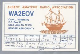 US.- QSL KAART. CARD. WA2EOV. CAROL J. NABEREZNY, SAND LAKE NEW YORK RENSSELAER COUNTY. U.S.A. ALBANY AMATEUR RADIO ASS. - Radio-amateur