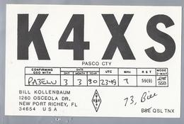US.- QSL KAART. CARD. K4XS. BILL KOLLENBAUM, NEW PORT RICHEY, FLORIDA. PASCO CTY. U.S.A. - Radio-amateur