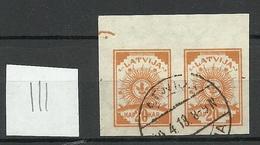 Lettland Latvia 1919 Michel 19 Y Senkrecht Geriffeltes Papier Vertically Ribbed Paper O - Lettland