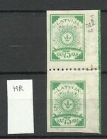 Lettland Latvia 1919 Michel 23 Senkrechtes Paar Mit Mittelzähnung 9 3/4 * - Lettland