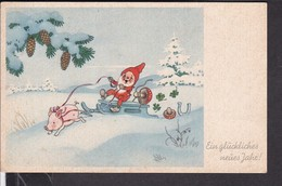 Postkarte Neujahr Pilze ; Zwerg  1941 - Neujahr