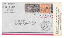 Haiti Censored Airmail Cover 1945 WWII Port Au Prince To US 366 RA3 Postal Tax Stamp - Haiti