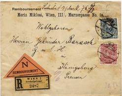 C461-Austria-Reimbursement Registered Cover From Wien To Konigsberg, Germany-1912 - 1850-1918 Empire