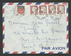 Lettre Avion >>> BRESIL / PARIS 16.03.1964 - 1960 Marianne Of Decaris