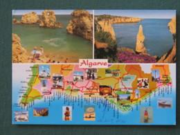 "Portugal 2003 Postcard ""Algarave Coast And Map"" To England - Euro Coins - 1910-... République"