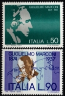 Italy, Italia 1974 Guglielmo Marconi Birthday 2 Values MNH Telegraphy - Telecom