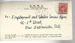 52104 ) Front Only Gummed Label O.H.M.S RCAF Boundary Bay Postmark - Usati