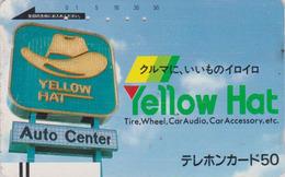 Télécarte Ancienne Japon / 110-11281 - Pub Garage YELLOW HAT - Advertising Japan Front Bar Phonecard / A - Balken TK - Japon