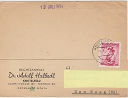 AKEO Card Sent From Austria To Holland In 1954 With Mi 915 Provincial Costumes - Innsbruck - Karto El Awstrio 1954 - Esperanto