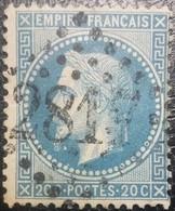 FRANCE Y&T N°29B Napoléon 20c Bleu. Oblitéré Losange G.C.n°2817 Péronne - 1863-1870 Napoleone III Con Gli Allori