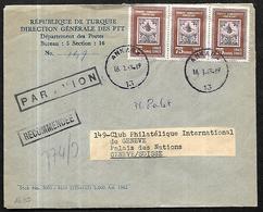 Turquie Lettre Recommandée Du 16 01 1963   De Ankara Vers Genève En Suisse - 1921-... Republik